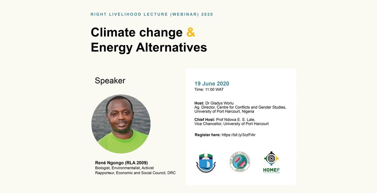RLC Port Harcourt: Online Annual Lecture with René Ngongo